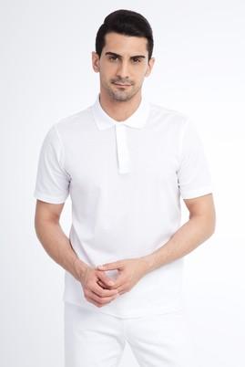 Erkek Giyim - Beyaz L Beden Regular Fit Merserize Polo Yaka Tişört