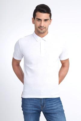 Erkek Giyim - Beyaz M Beden Regular Fit Desenli Polo Yaka Tişört