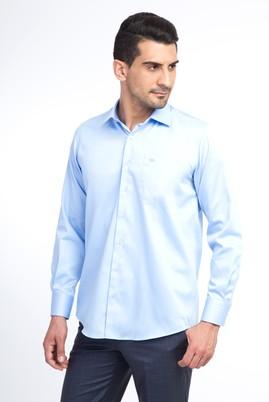 Erkek Giyim - Açık Mavi 7X Beden Uzun Kol Saten Gömlek
