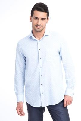 Erkek Giyim - Açık Mavi L Beden Uzun Kol Ekose Gömlek