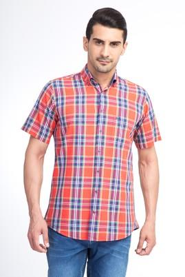 Erkek Giyim - Kırmızı XXL Beden Kısa Kol Ekose Gömlek