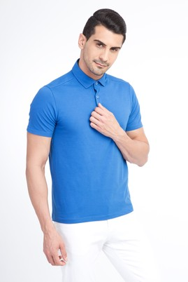 Erkek Giyim - Mavi XL Beden Yarım İtalyan Yaka Slim Fit Tişört