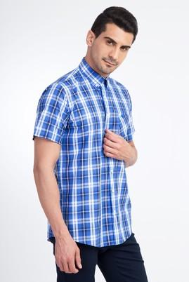 Erkek Giyim - Mavi XL Beden Kısa Kol Ekose Gömlek
