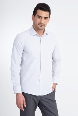 Erkek Giyim - Beyaz S Beden Uzun Kol Desenli Slim Fit Gömlek
