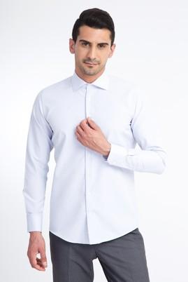 Erkek Giyim - Beyaz XXL Beden Uzun Kol Desenli Slim Fit Gömlek