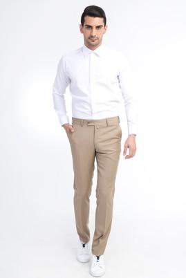 Erkek Giyim - Bej 46 Beden Slim Fit Yünlü Klasik Pantolon