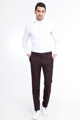 Erkek Giyim - Bordo 58 Beden Slim Fit Klasik Pantolon