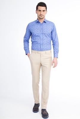 Erkek Giyim - Krem 50 Beden Slim Fit Yünlü Klasik Pantolon