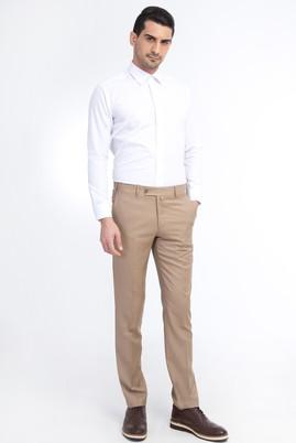 Erkek Giyim - Bej 48 Beden Slim Fit Yünlü Klasik Pantolon