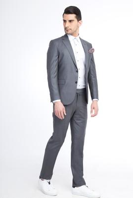 Erkek Giyim - Açık Gri 44 Beden Slim Fit Ekose Takım Elbise