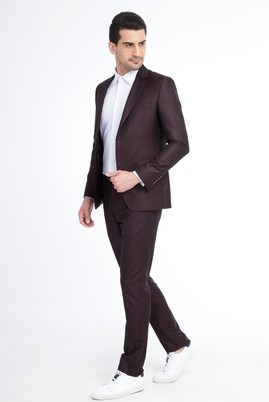 Erkek Giyim - Bordo 48 Beden Slim Fit Kuşgözü Takım Elbise