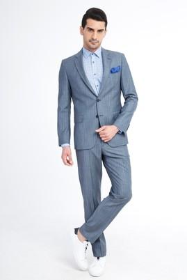 Erkek Giyim - Açık Gri 50 Beden Çizgili Takım Elbise