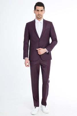 Erkek Giyim - Bordo 48 Beden Çizgili Takım Elbise