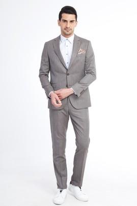 Erkek Giyim - Açık Kahve - Camel 52 Beden Kareli Takım Elbise
