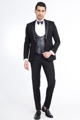 Erkek Giyim - Siyah 50 Beden Sivri Yaka Smokin / Damatlık