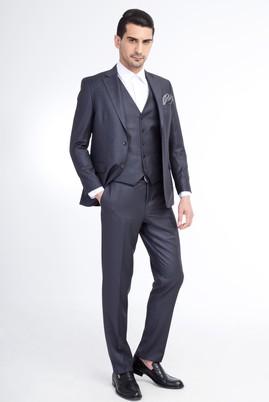 Erkek Giyim - Füme Gri 62 Beden Yelekli Klasik Takım Elbise