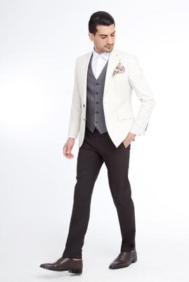 Erkek Giyim - Krem 52 Beden Yelekli Kombinli Takım Elbise