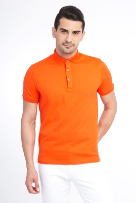 Erkek Giyim - Turuncu XL Beden Regular Fit Polo Yaka Tişört