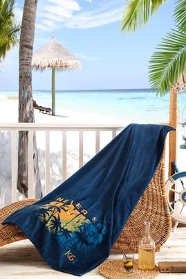 Erkek Giyim - Lacivert STD Beden Baskılı Plaj Havlusu