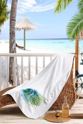 Erkek Giyim - Beyaz STD Beden Baskılı Plaj Havlusu