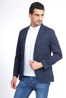 Erkek Giyim - Mavi 46 Beden Baskılı Spor Ceket