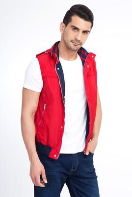 Erkek Giyim - Kırmızı 46 Beden Kapüşonlu Ribanalı Yelek