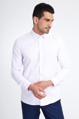 Erkek Giyim - Pembe L Beden Uzun Kol Desenli Slim Fit Gömlek