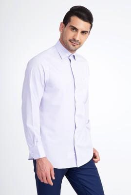 Erkek Giyim - Beyaz L Beden Uzun Kol Çizgili Klasik Gömlek