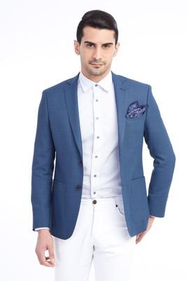 Erkek Giyim - Mavi 48 Beden Slim Fit Kuşgözü Ceket