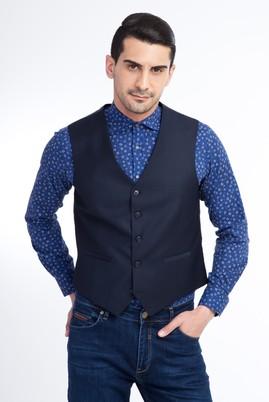 Erkek Giyim - Lacivert 54 Beden Klasik Yelek