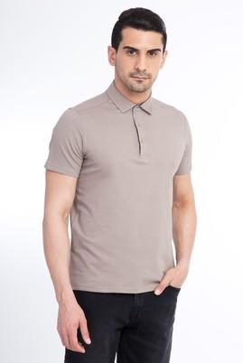 Erkek Giyim - VİZON L Beden Yarım İtalyan Yaka Slim Fit Tişört