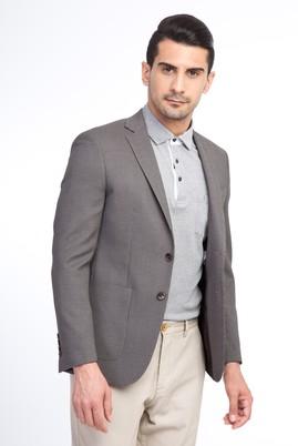 Erkek Giyim - Kahve 48 Beden Slim Fit Kuşgözü Ceket