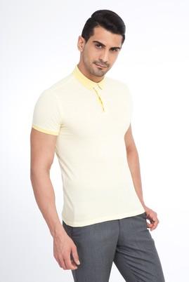 Erkek Giyim - Sarı XL Beden Polo Yaka Desenli Slim Fit Tişört