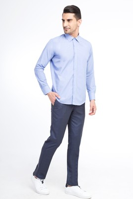 Erkek Giyim - KOYU MAVİ 54 Beden Slim Fit Ekose Klasik Pantolon