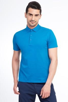 Erkek Giyim - Petrol L Beden Yarım İtalyan Yaka Slim Fit Tişört