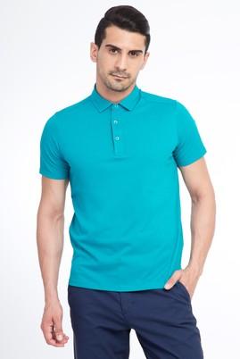Erkek Giyim - Açık Yeşil XL Beden Yarım İtalyan Yaka Slim Fit Tişört