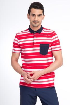 Erkek Giyim - Kırmızı S Beden Polo Yaka Çizgili Slim Fit Tişört