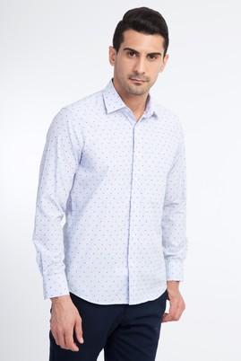 Erkek Giyim - Açık Mavi L Beden Uzun Kol Desenli Slim Fit Gömlek