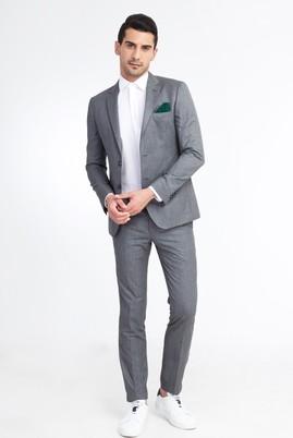 Erkek Giyim - Orta füme 50 Beden Süper Slim Fit Desenli Takım Elbise