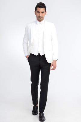 Erkek Giyim - Krem 50 Beden Sivri Yaka Smokin / Damatlık