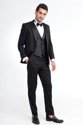 Erkek Giyim - Siyah 54 Beden Sivri Yaka Smokin / Damatlık