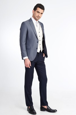 Erkek Giyim - Lacivert 48 Beden Regular Fit Yelekli Kombinli Kuşgözü Takım Elbise