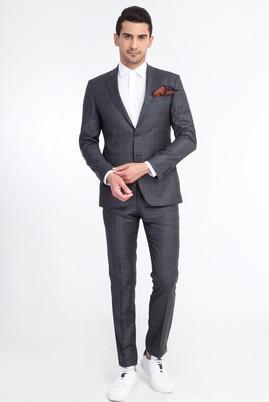 Erkek Giyim - Füme Gri 52 Beden Slim Fit Kareli Takım Elbise