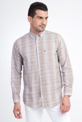 Erkek Giyim - Açık Kahve - Camel M Beden Uzun Kol Çizgili Gömlek