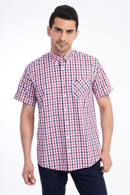 Erkek Giyim - Kırmızı L Beden Kısa Kol Regular Fit Ekose Gömlek