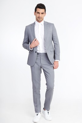 Erkek Giyim - Açık Gri 44 Beden Slim Fit Kuşgözü Takım Elbise