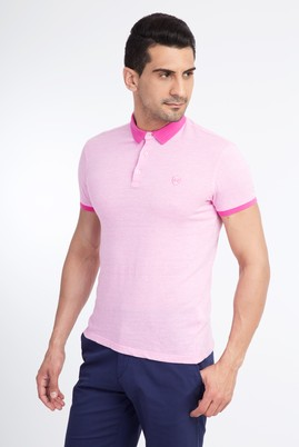 Erkek Giyim - Pembe M Beden Polo Yaka Desenli Slim Fit Tişört