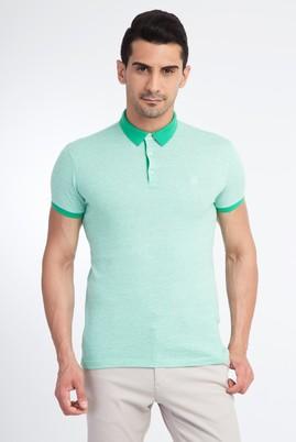Erkek Giyim - Açık Yeşil XL Beden Polo Yaka Desenli Slim Fit Tişört