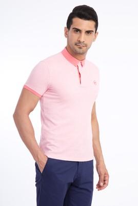 Erkek Giyim - Turuncu L Beden Polo Yaka Desenli Slim Fit Tişört
