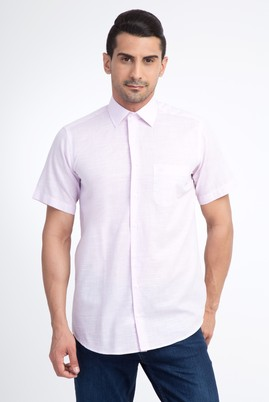 Erkek Giyim - Pembe XXL Beden Kısa Kol Desenli Gömlek